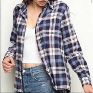 Brandy Melville OS Wylie plaid flannel button up